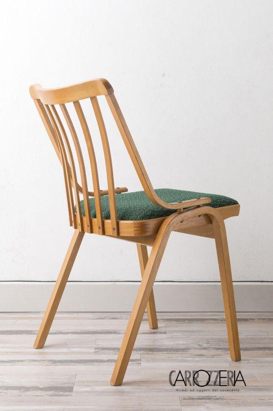 4 sedie Ton da ufficio, rivestite in tessuto originale - Carrozzeria900