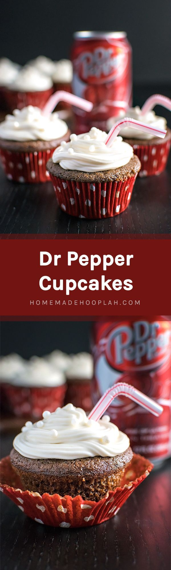 Dr Pepper Cupcakes! Have a Dr Pepper fan in your life? Then they're going to love these! Rich chocolate buttermilk cupcakes with a hint of their favorite fizzy soda. | http://HomemadeHooplah.com