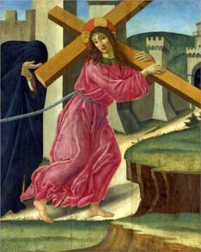 Christ Carrying the Cross (c1490) by the Early Renaissance Italian painter Sandro Botticelli (Alessandro di Mariano di Vanni Filipepi; c1445-1510). This is tempera on canvas and is now held in the Beaverbrook Art Gallery, Fredericton, New Brunswick in Canada.