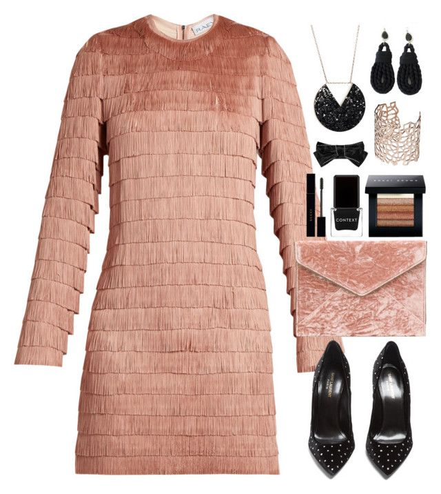 """Fringed Dress"" by gicreazioni ❤ liked on Polyvore featuring Raey, Yves Saint Laurent, Rebecca Minkoff, Context, Bobbi Brown Cosmetics, Gucci and Co.Ro"