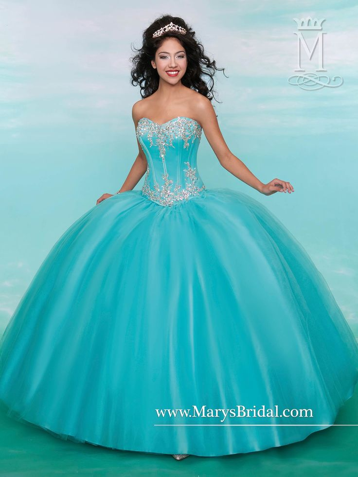 Aqua tulle quinceanera ball gown with strapless sweetheart neckline, beaded corset bodice, lace-up back, and bolero.