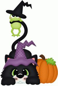 Silhouette Design Store - View Design #66204: halloween cat w frog on tail pnc