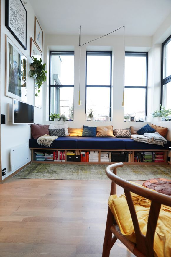 Built In Sofa Bench With Bookshelves Storage Tv Gallery Wall The Colours 29 Sqm Studio Flat In Torshov Oslo Built In Sofa Living Room Bench Built In Couch