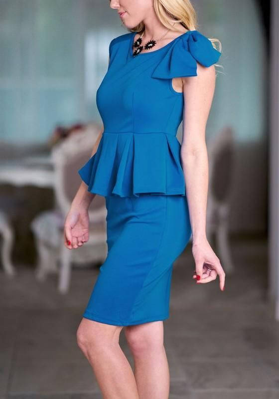 4a26a1d4ed3 Blue Bowknot Peplum High Waisted Office Worker Daily Elegant Party Midi  Dress