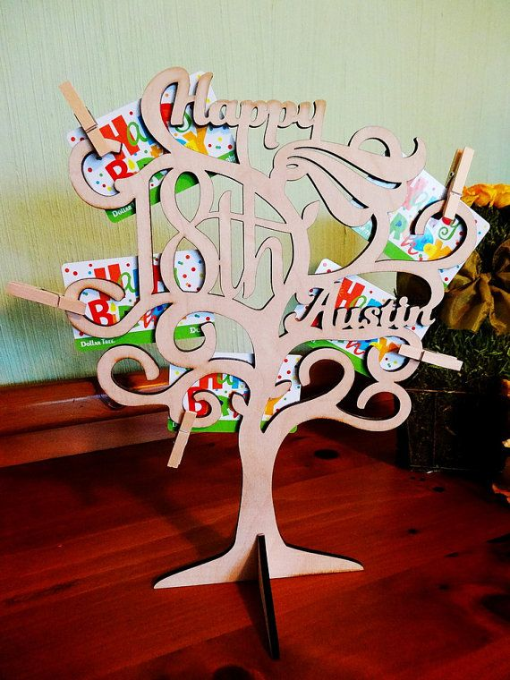 Personalized Gift Card Holder, Wooden Tree to Display Gift Cards, Cash, Tickets, Pictures - Birthday, Anniversary or Special Occasion Gift
