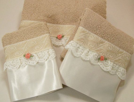 Hostess Guest Towel Set Hand Embellished Bath Hand Wash Cloth Beige Coffee White Trim Lace Satin Roses