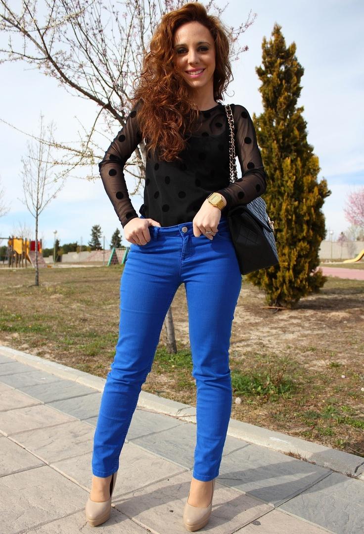 Azul Electrico #outfit  Zara Trafaluc In T Shirts Zara In Jeans Aldo In Heels / Wedges ...