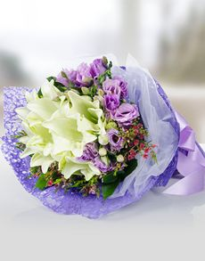Gift Ideas - Easter Flowers: Purple Eustoma and Lilies Bouquet!