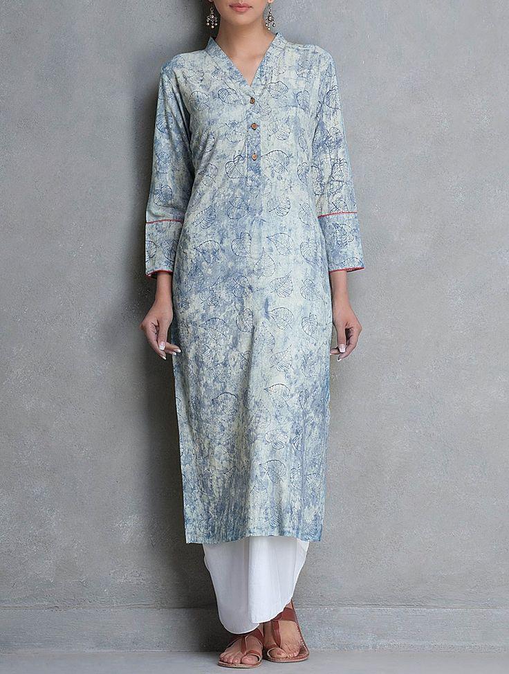 Buy Blue V Neck Dabu Printed Cotton Kurta by Lavanya SALE shop child products Online at Jaypore.com