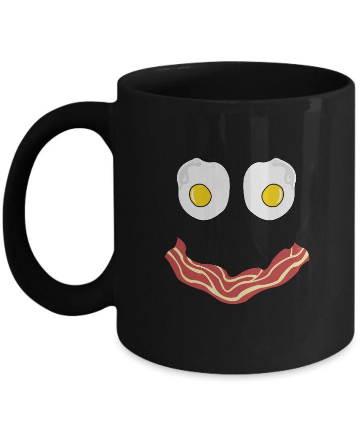 Funny Breakfast Mug – Bacon Eggs Smile Black Coffee Cup