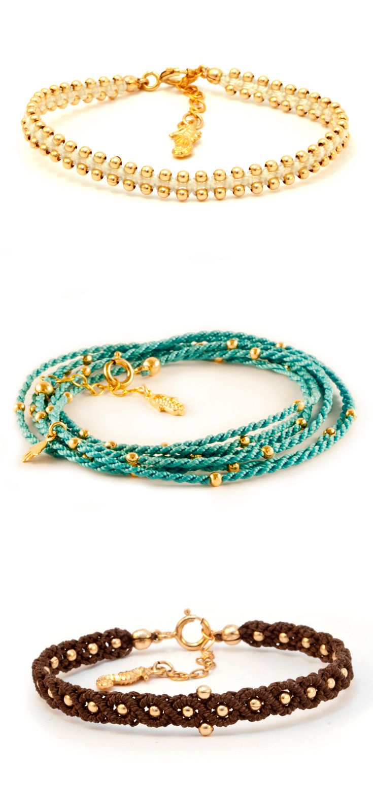 Stackable String Bracelets. Shop you look on Etsy!  #Stackbracelets #Stackablebracelets #turquoiseandgold #stringbracelets
