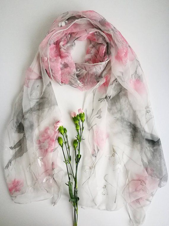 01905e27388 January Silk Chiffon scarf Carnation and Snowdrops pale Grey Pink ...