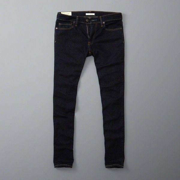 Abercrombie & Fitch Skinny Jeans (115 BRL) via Polyvore featuring men's fashion, men's clothing, men's jeans, rinse, mens skinny fit jeans, mens stretch skinny jeans, mens stretch jeans, mens zipper jeans e mens super skinny stretch jeans