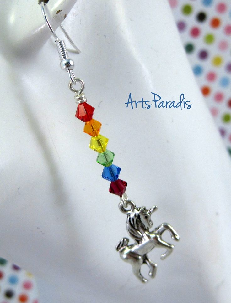 Adorable #rainbow #Swarovski #crystal #unicorn #earrings available from #AmazonPrime. #handmade #fashion #jewelry #Etsy #Amazon