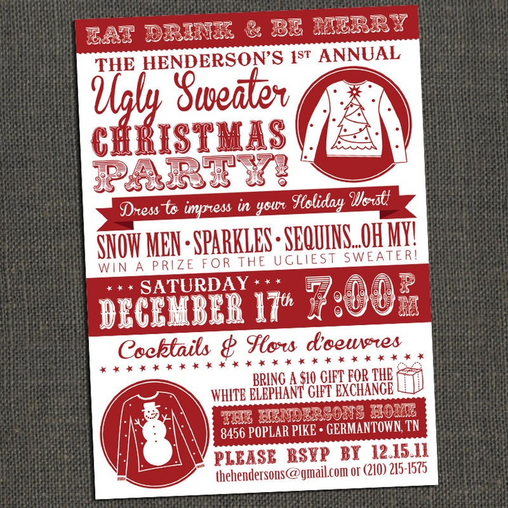 38 best invitations for an ugly christmas sweater party images on, Party invitations