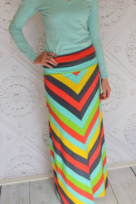 Chevron Summer Striped Maxi skirt for Teen's or by Gogreenstyle