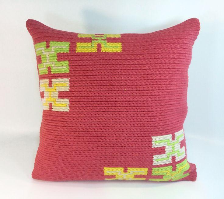 Handmade tribal boho cushion 45cmx45cm (Guayaba Symbols)