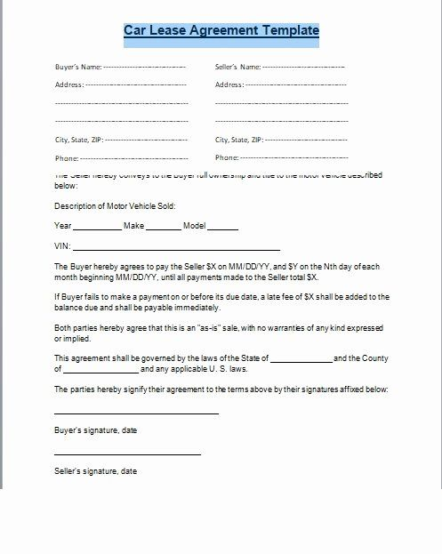 Car Sale Agreement Word Doc Lovely Car Lease Agreement Format Word And Pdf Excel Tmp Rental Agreement Templates Car Lease Lease Agreement