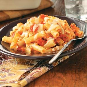 Baked Ziti Recipe from Taste of Home :: shared by Charity Burkholder of Pittsboro, Indiana :: http://pinterest.com/taste_of_home/