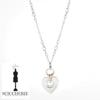 Rebecca Gioielli Collezione San Valentino.  Collana in acciaio e bronzo con pietre e pendente a forma di cuore.  #sciccherie #sanvalentino #rebeccajewels