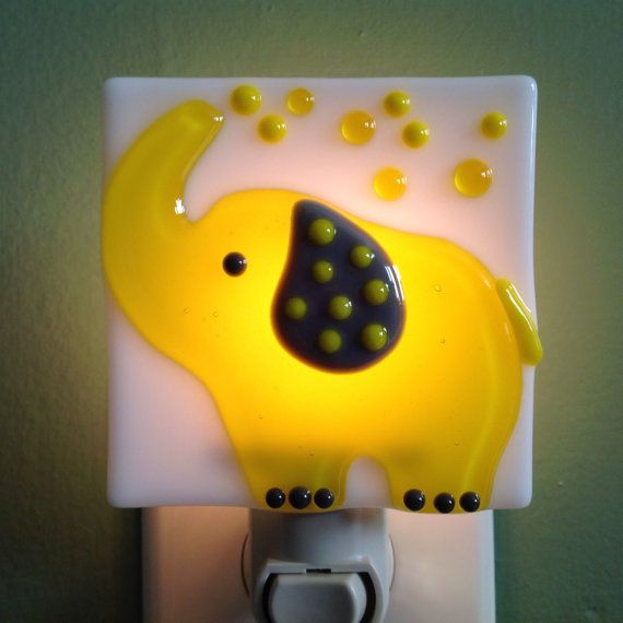 Fused Glass Yellow Elephant Nursery Night Light