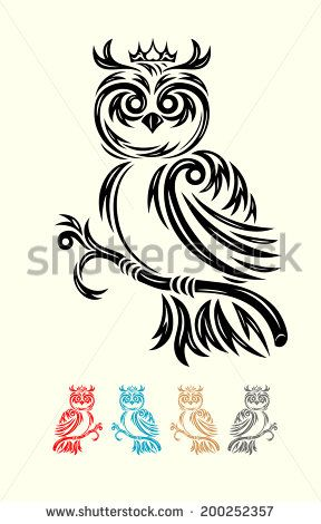 Owl. Owl tribal tattoo design. good for your tattoo design, easy to use. vector file.