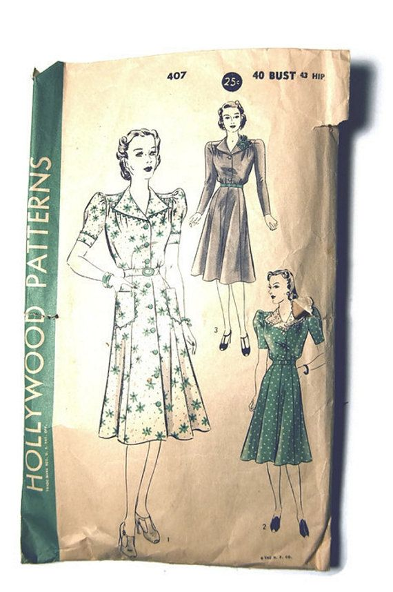 Vintage 1940's Hollywood Pattern 407 One Piece Dress by SewSymple