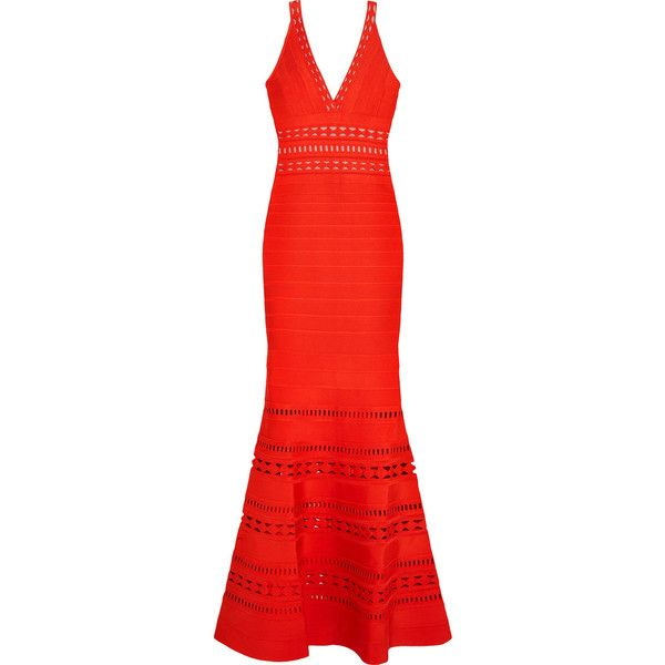 Hervé Léger Cutout bandage gown (6.380 HRK) found on Polyvore featuring women's fashion, dresses, gowns, red, red cut-out dresses, cutout dresses, red bandage dresses, cutout bandage dress and bandage evening gown