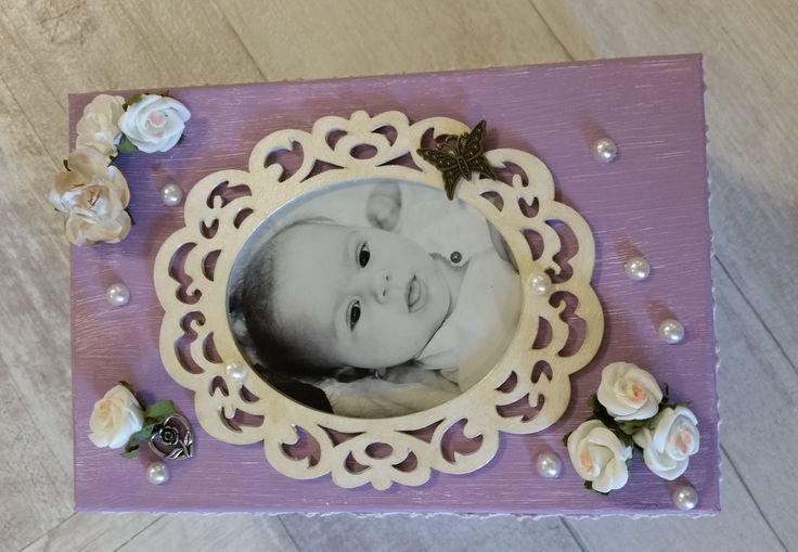 Cute baby box - handmade mixed media