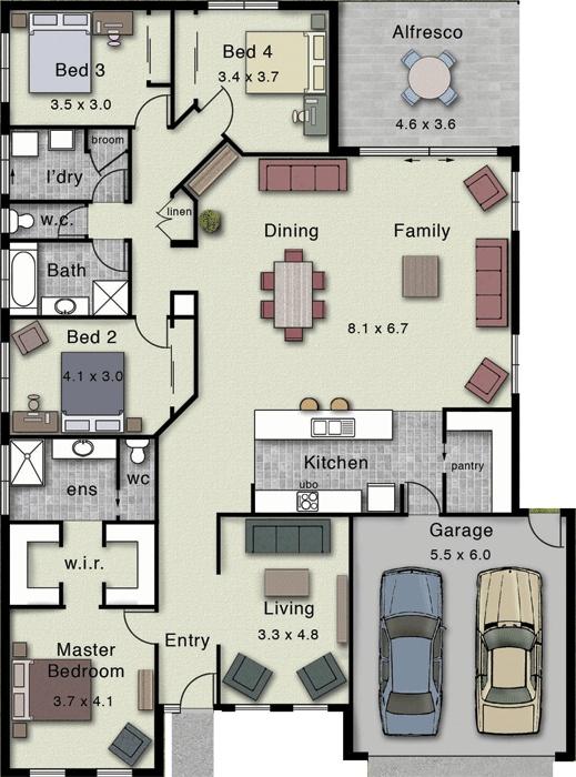 Dakota 267 Floor Plan (Hotondo)- I like the general idea although I'd switch a few things around.