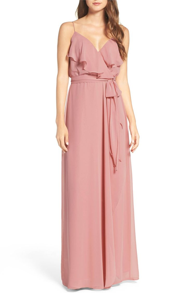 Main Image - nouvelle AMSALE 'Drew' Ruffle Front Chiffon Gown