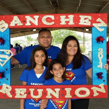 Large Styrofoam photo frame prop for family reunion.