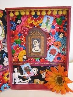 Altered cigar box shrine for Dia de los Muertos