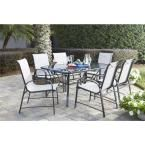 Cosco Paloma 7-Piece Steel Patio Dining Set with Tempered Glass Table Top