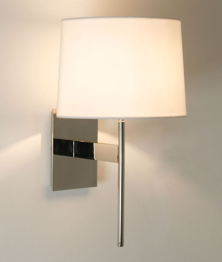 Stylish Wall Lights: This stylish wall light is available in a bronze, satin nickel or chrome  finish and is available with a white shade and lamp which is dimmable.,Lighting