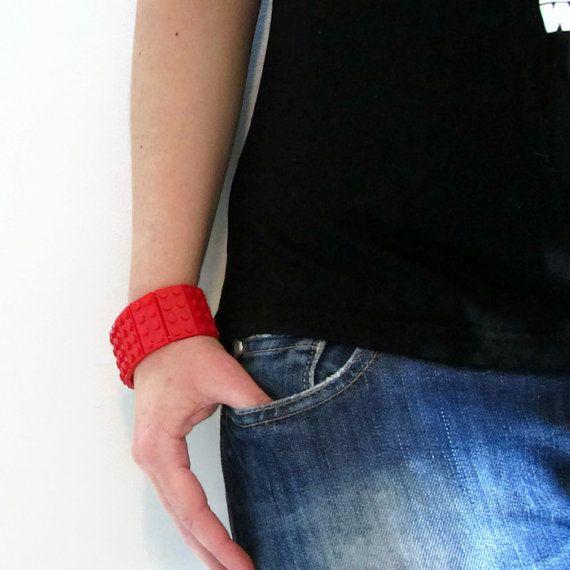 Total Red LEGO® Bracelet, Elastic Bracelet, Modern bracelet, Cuff Bracelet,  LEGO® Jewelry, LEGO® Accessories, Geeks Gift, Gift for Her