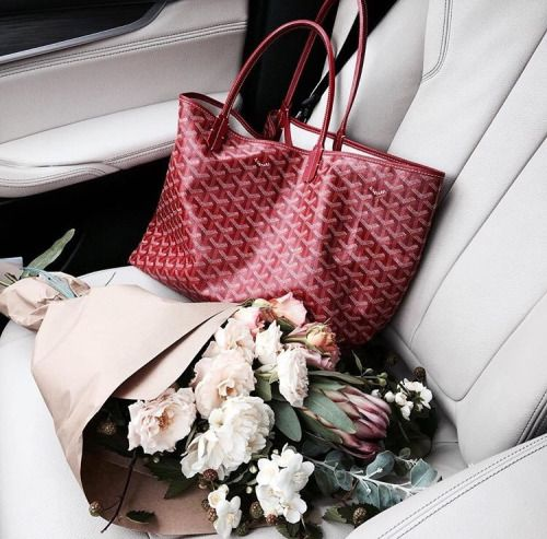 Goyard St. Louis Tote and flowers