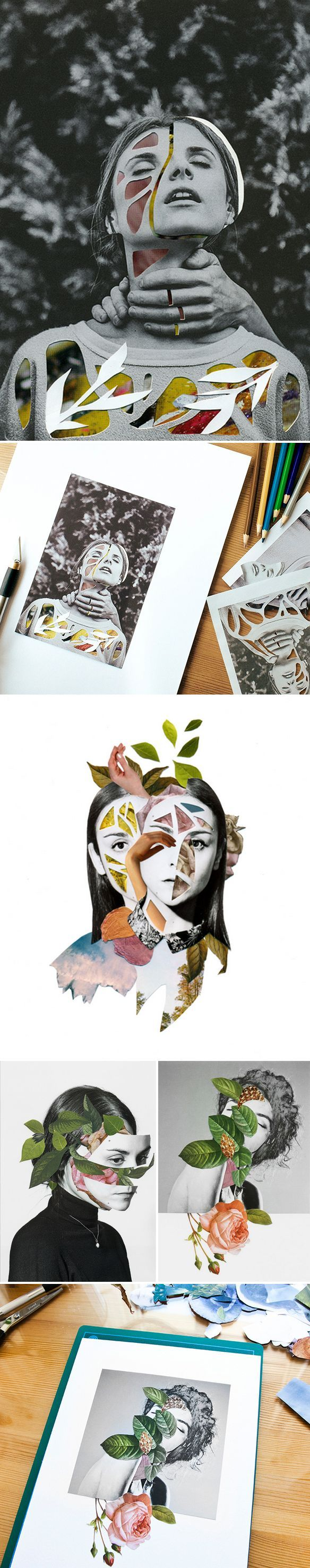 greyscale main images, cut out shapes to show through colours and textures  rocio montoya: