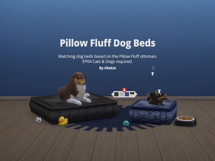 Matching pet beds based on the Pillow Fluff ottoman from city living (Not required). 4 swatches.  Found in TSR Category 'Sims 4 Pets'