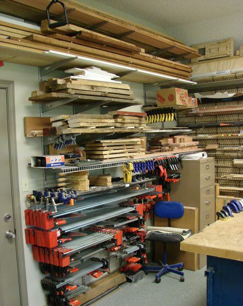 woodworking shop ideas   ... lift roll around table as well as the clamp and wood storage area