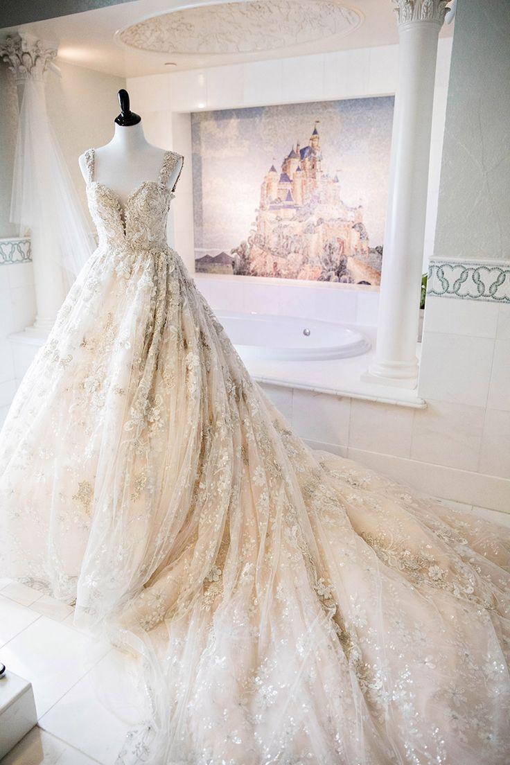 A jaw-dropping wedding gown for a Disneyland bride.