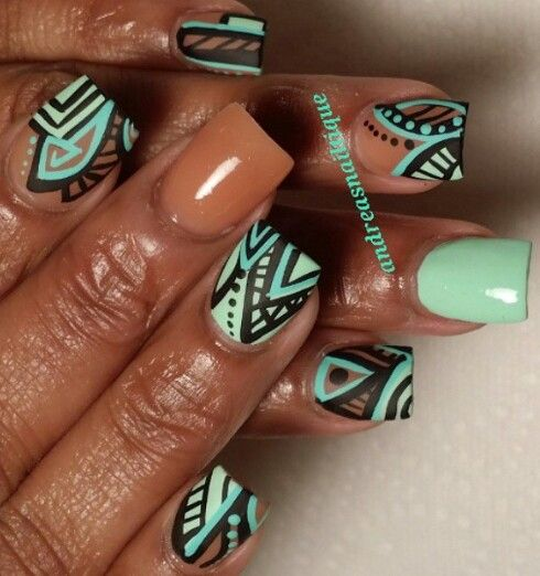Green matte tribal nail design
