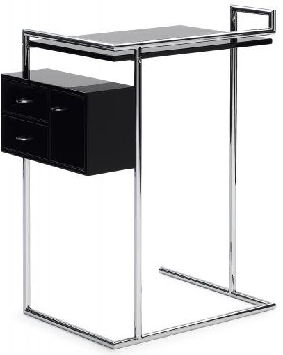 Petite Coiffeuse by Eileen Gray. The geometrically structured small dressing table is proof of how she can combine the aesthetic with the practical. Dressing table consisting of tabletop and suspended box with two swivel-out drawers and one door. Frame of chromium-plated steel tubing. Tabletop and box of MDF high-gloss lacquer finish