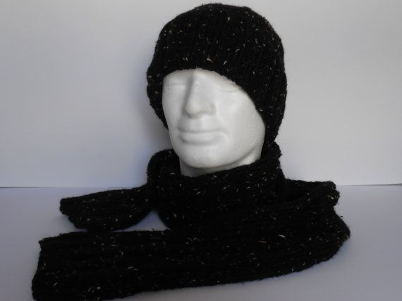 Men's Hat and Scarf Set. Handknit  watch cap and by AluraCrafts