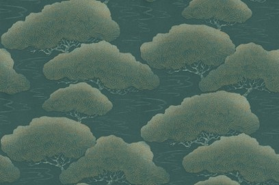 Blue Pine, a designer wallpaper from The Little Greene Paint Company, featured in the The Little Greene Paint Company Oriental Papers collection.
