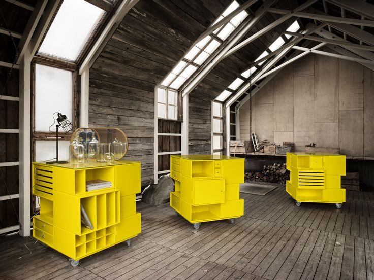 How about a mobile work desk with room for all your creative supplies in the dynamic colour Tokyo Yellow. #montana #furniture #danish #design #yellow #workdesk #homeoffice #workspace #creative