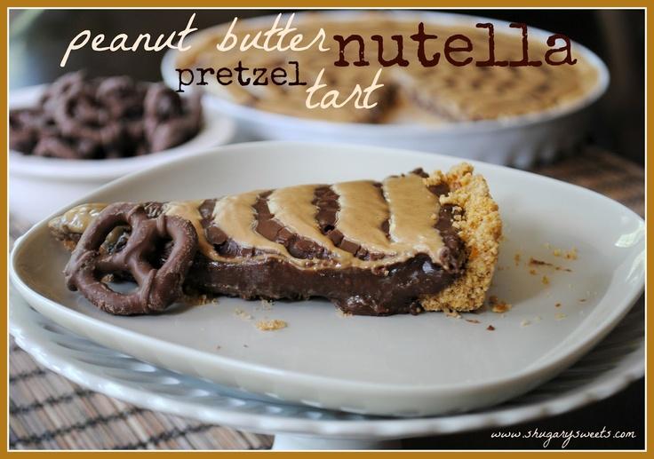 Peanut Butter Nutella Pretzel Tart