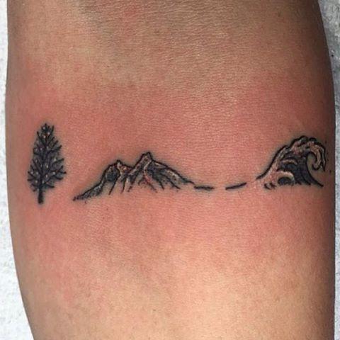 wave mountain tattoo