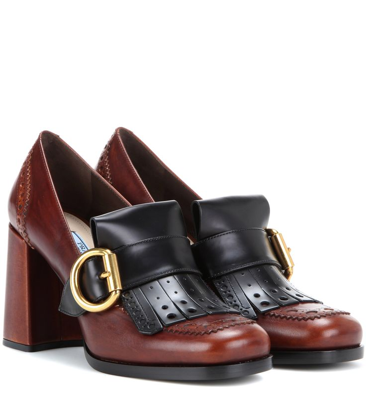 Prada Leather brogue loafer pumps Brown                  $149.00