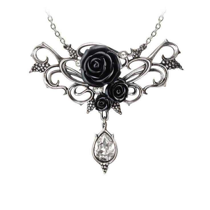Alchemy Gothic Bacchanal Black Rose Pendant Necklace w/ Teardrop